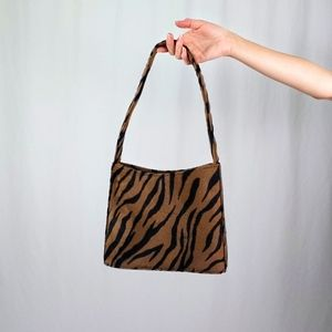 90's fuzzy tiger stripe purse